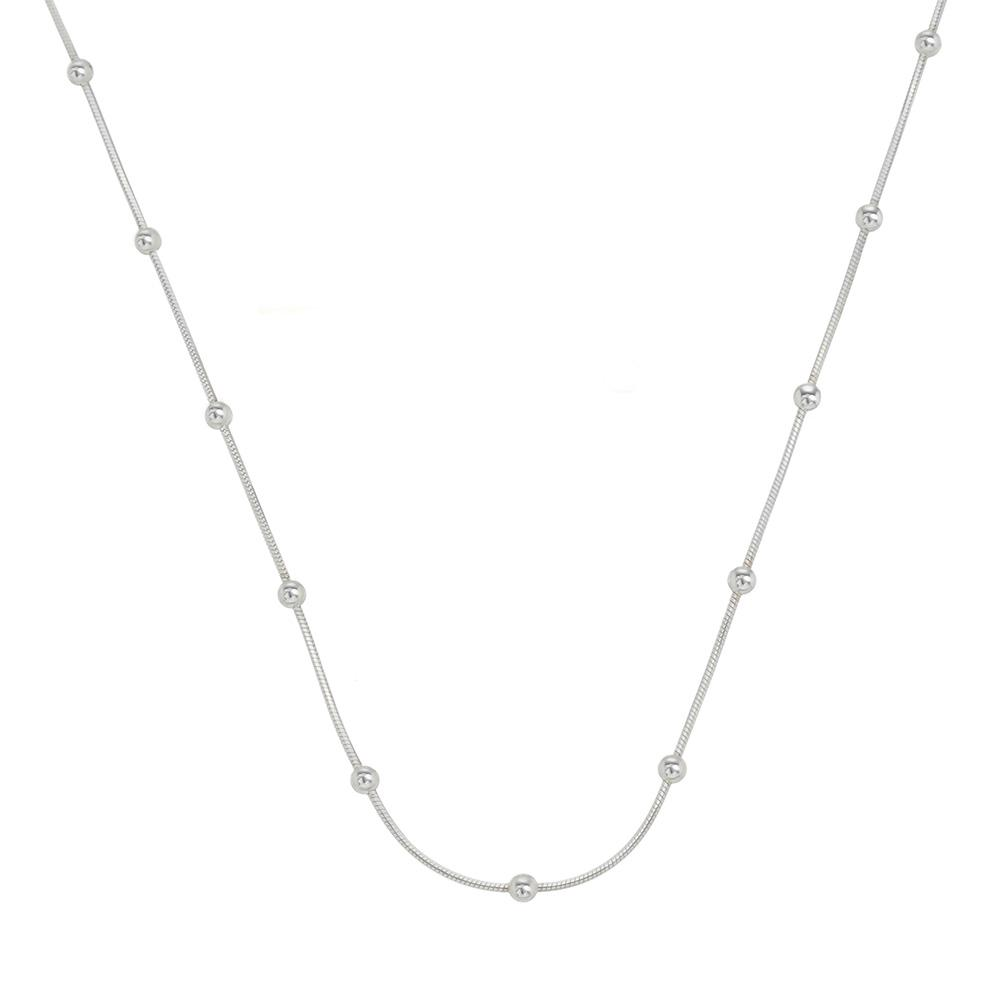 Colar Laminada com Bolinha 40 cm em Prata