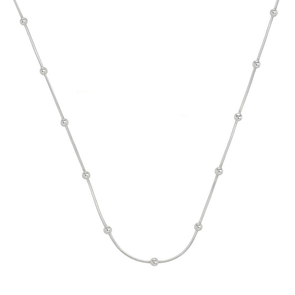 Colar Laminada com Bolinha 45 cm em Prata
