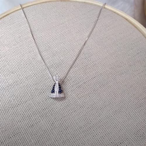Colar Nossa Senhora Aparecida Pequeno em Prata