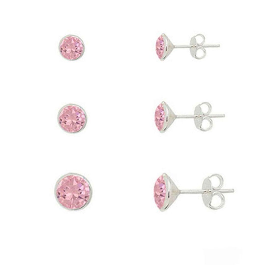 Kit Brincos de Prata Cristal Rosa em Prata