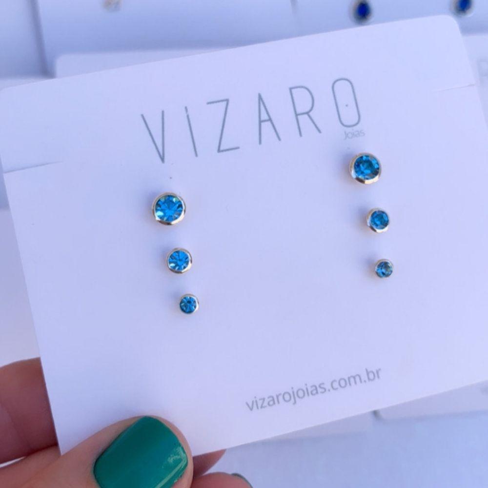 Kit de Brinco de Prata Cristal Azul Céu
