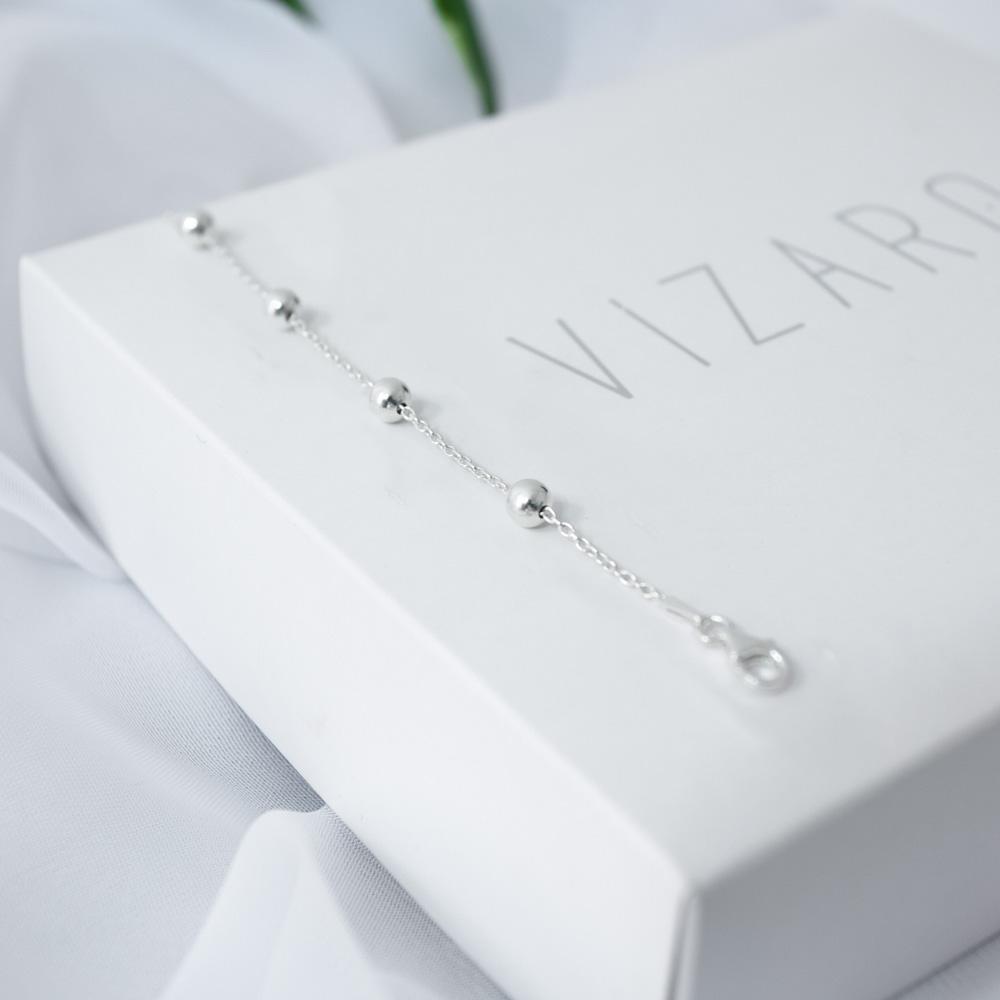Pulseira Cadeado com Bolinhas 5mm em Prata