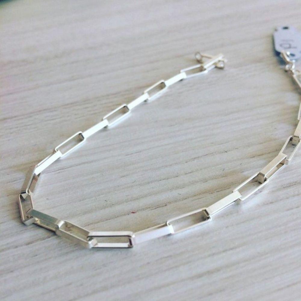 Pulseira de Prata Masculina Retangular 2 mm