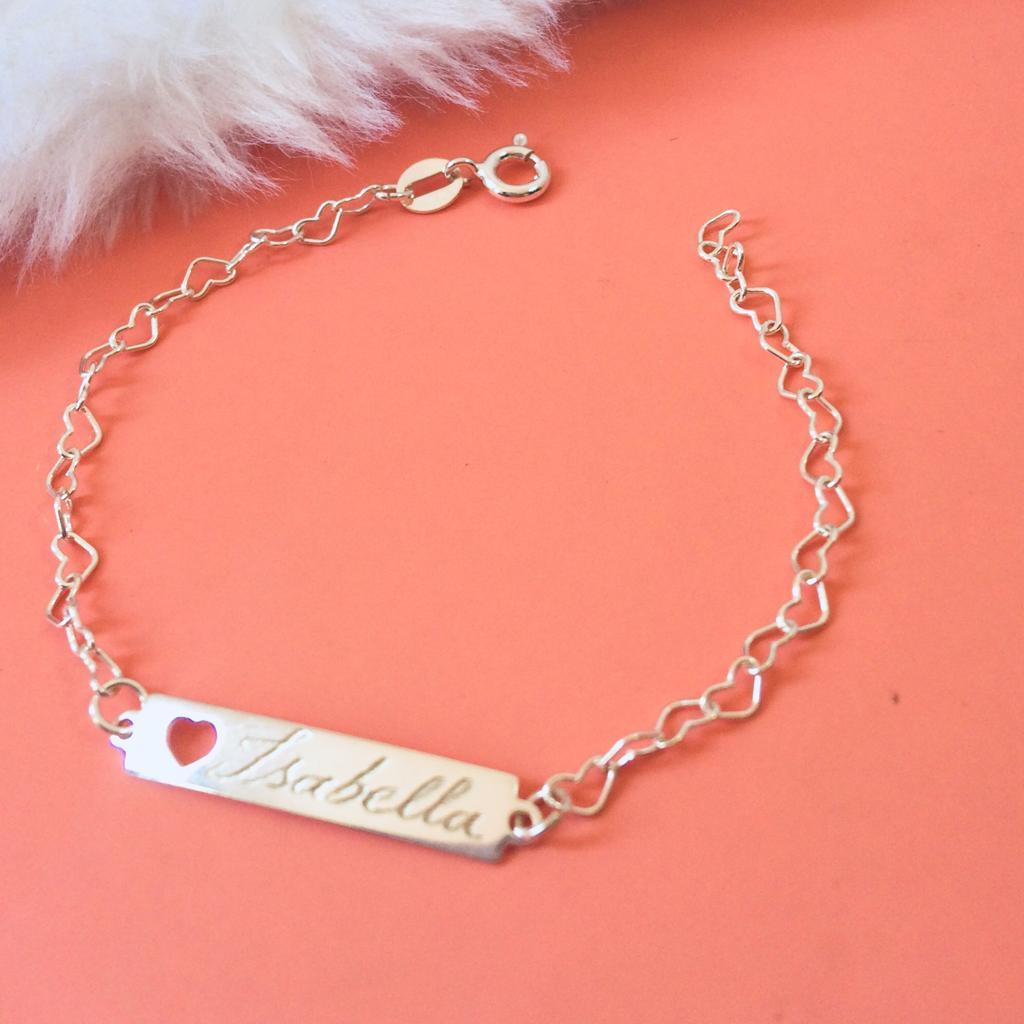 Pulseira Infantil com nome personalizado Elo Coração em Prata