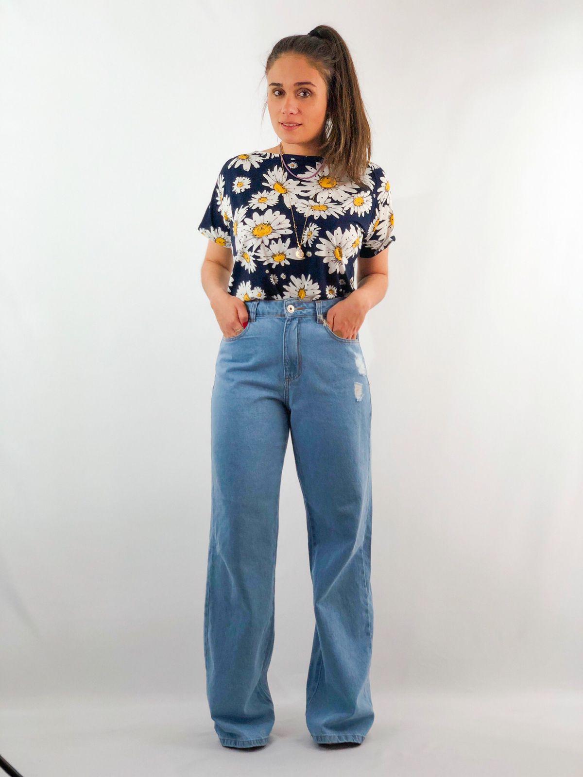 Calça pantalona jeans