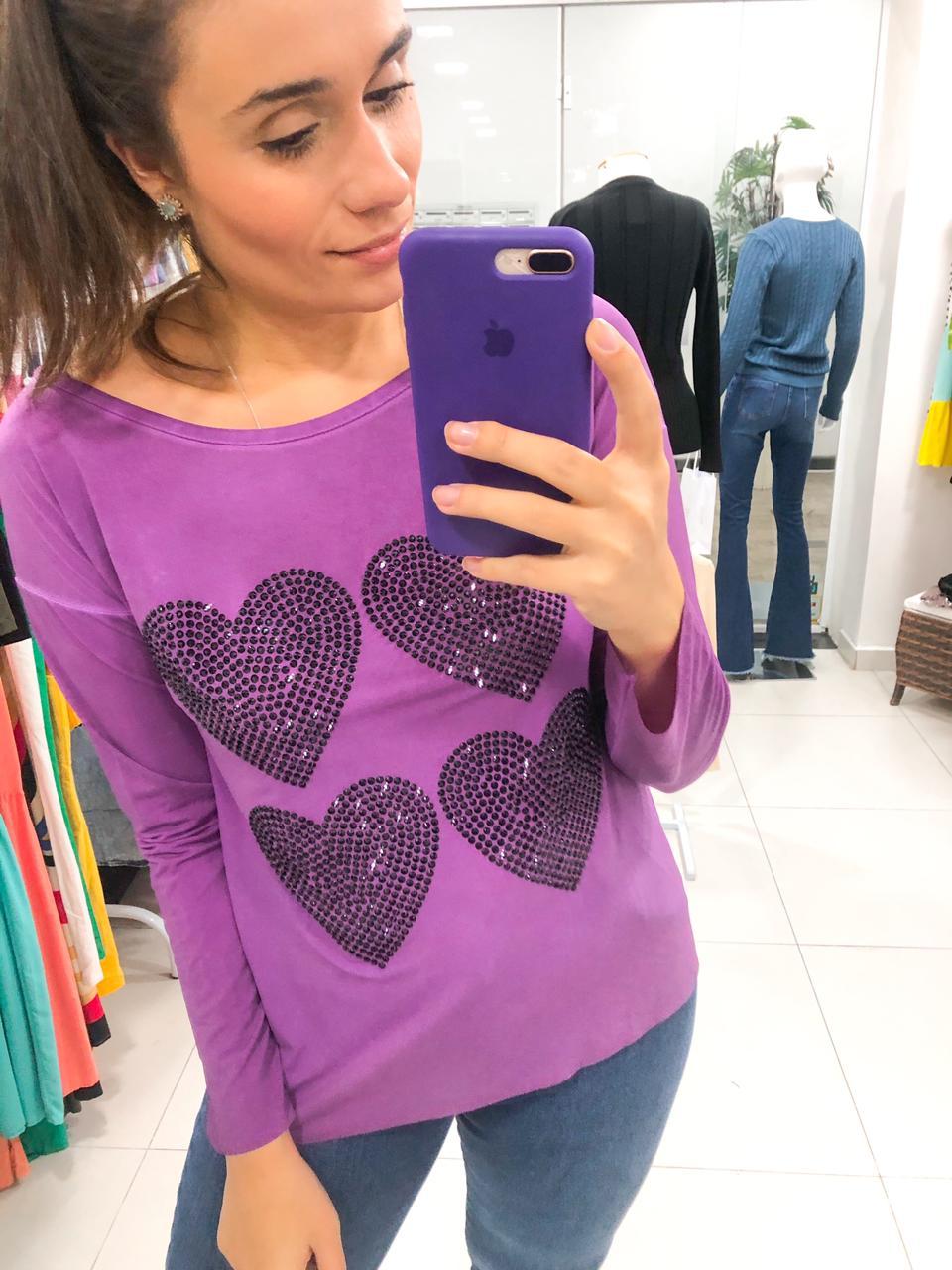 Camiseta 4 coração manga longa