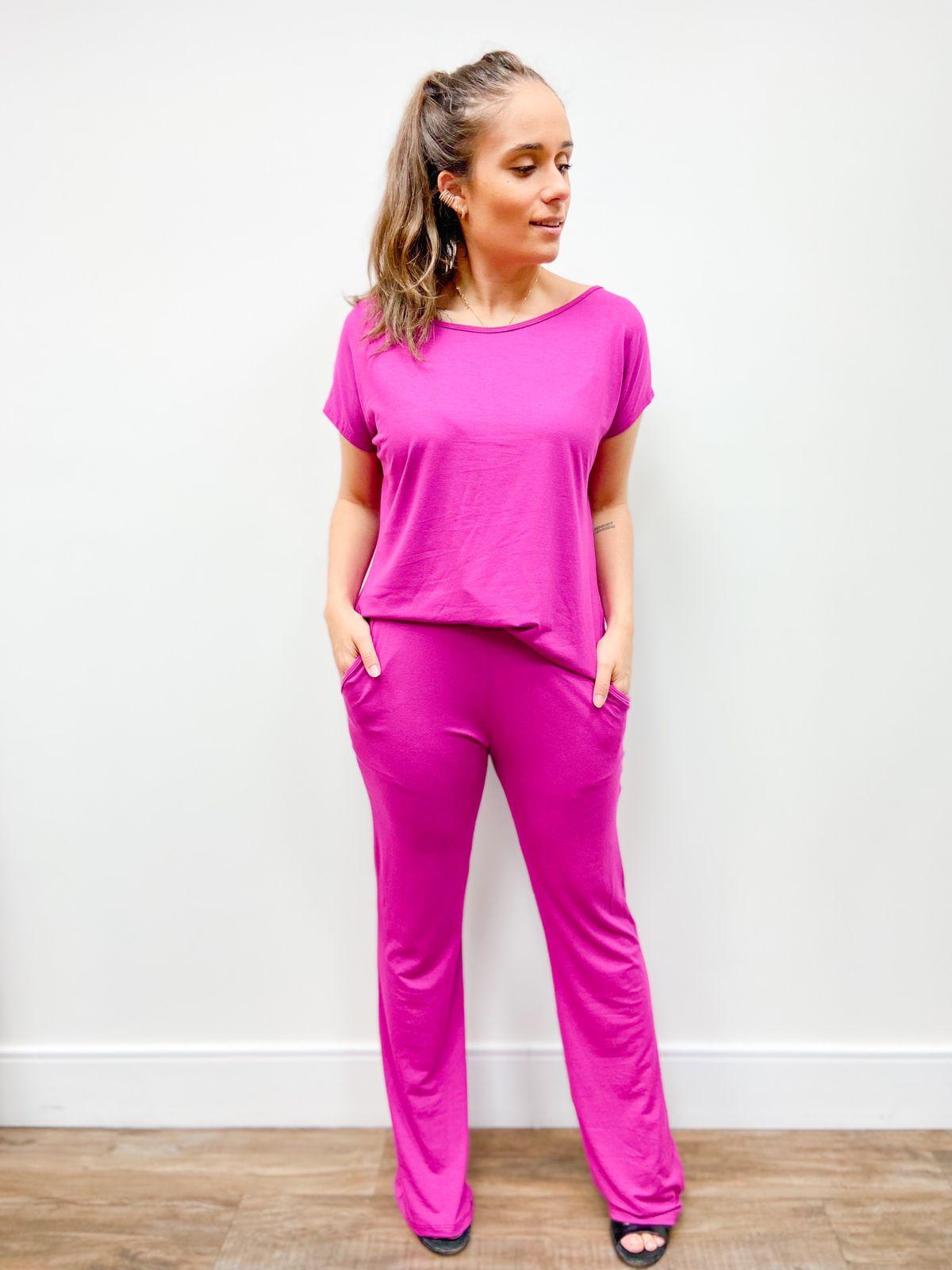 Conjunto blusa calça reta viscolycra