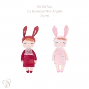 Boneca MeToo Mini Angela Bordo e Jardineira Rosa 20cm