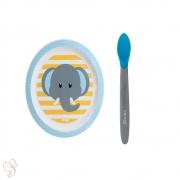 Conjunto Prato e Colher Termo Infantil Clingo Elefante Azul