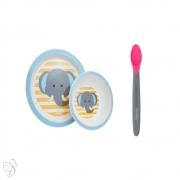 Conjunto Prato Tigela Colher Infantil Clingo Elefante Rosa