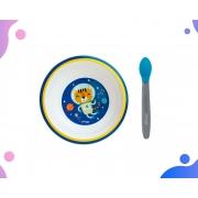 Conjunto Tigela Infantil Espaço e Colher Termo Azul Clingo
