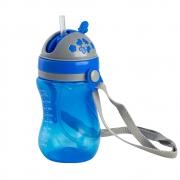Copo Com Válvula Canudo e Alça Removível Azul 320ml Clingo