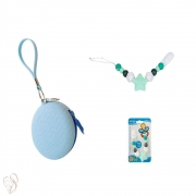 Kit Prendedor e Porta Chupeta Azul com Ziper Silicone Clingo