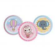 Prato Infantil Raso 3 Unidades Balão Gatinho Elefante Clingo