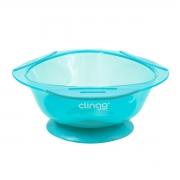 Prato para Bebês com Ventosa Silicone Azul - Clingo