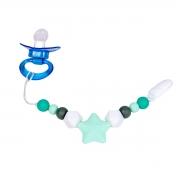 Prendedor de Chupeta em Silicone Estrelas Azuis 2m+ - Clingo