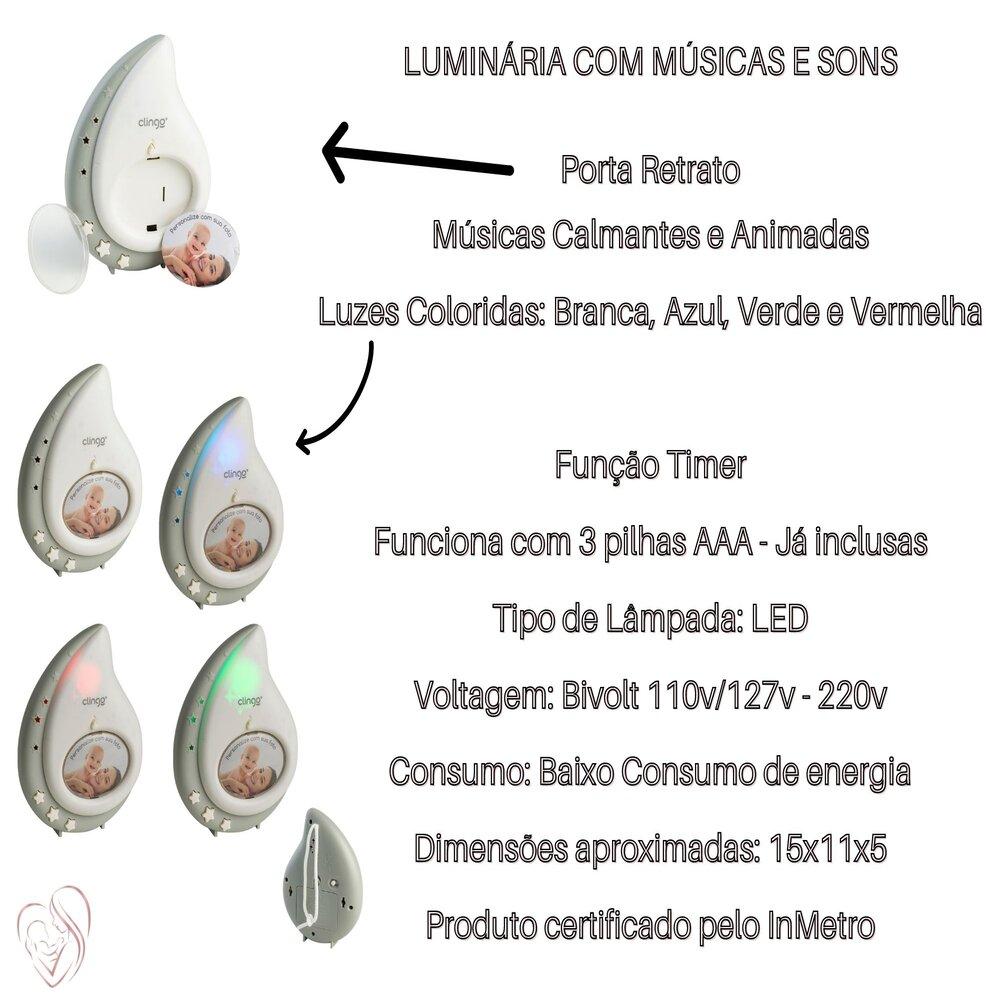 Abajur Luminária Infantil Com Luz e Sons De Gota Clingo