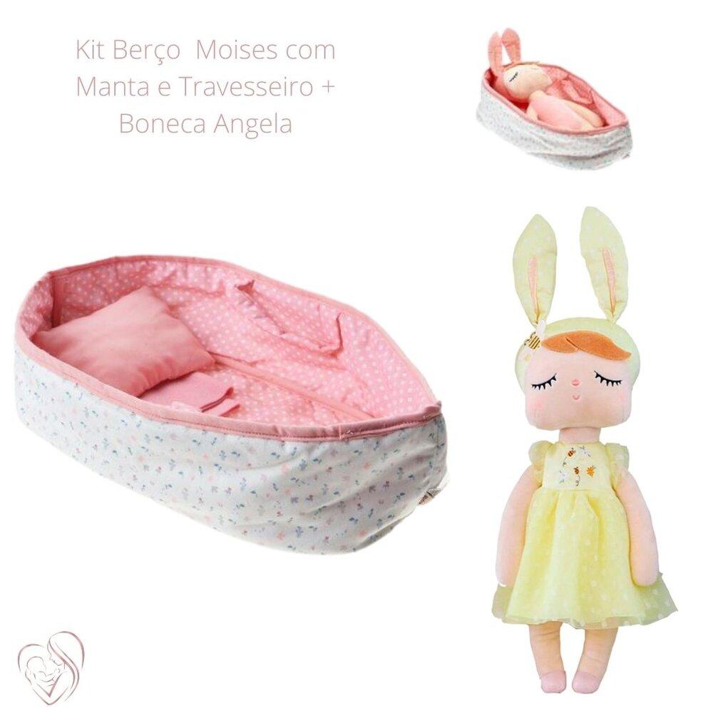 Berço Moises com Manta e Travesseiro + Angela Beatrice 33 cm