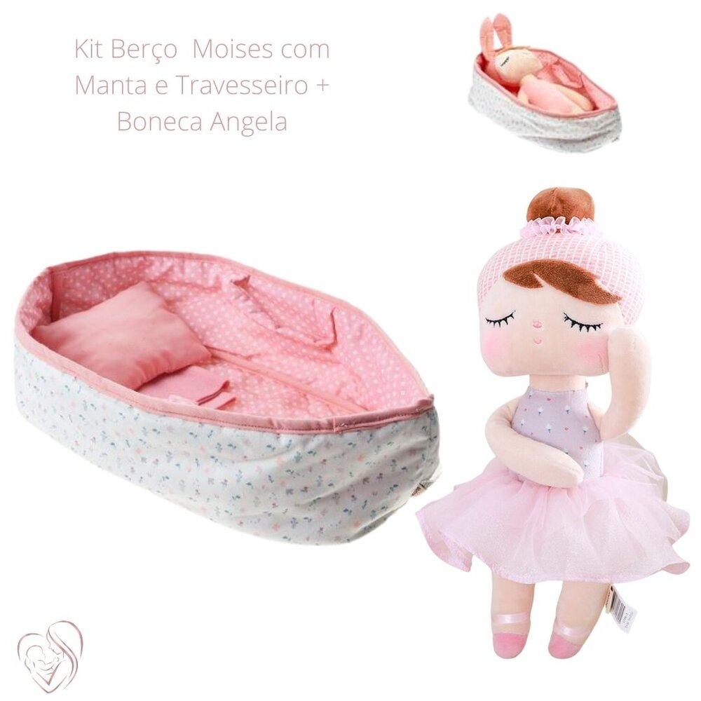 Berço Moises com Manta e Travesseiro + Angela LaiBallet Rosa