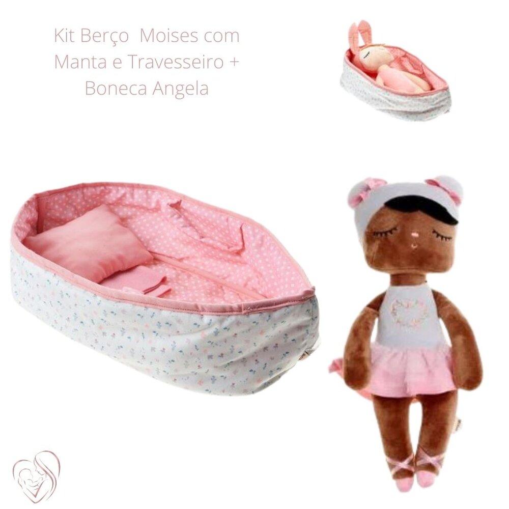 Berço Moises com Manta e Travesseiro + Angela Maria 33 cm