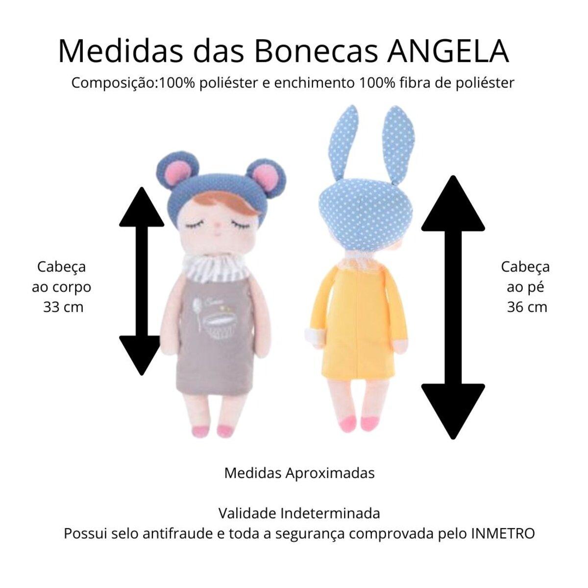 Boneca Angela Jardineira Lilás 33cm Metoo Com Sacola