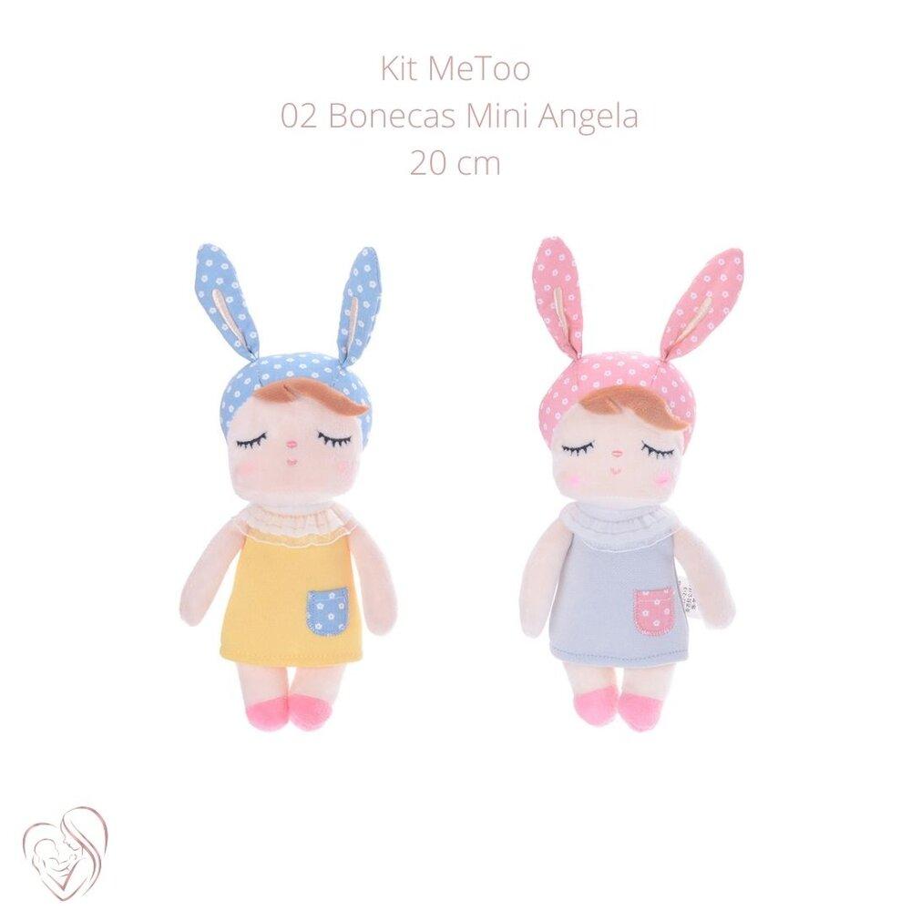 Boneca MeToo Mini Angela Classica Cinza e Mini Amarela