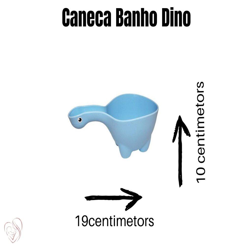 Caneca de Banho Bebê Infantil Dino Azul Baby Bath