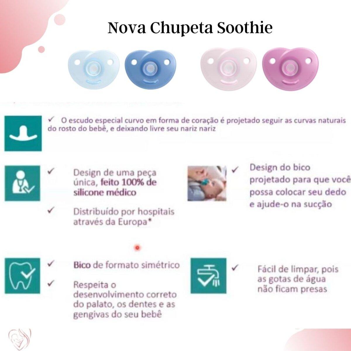 Chupeta Soothie Rosa 0-6 Meses Philips Avent  Nova