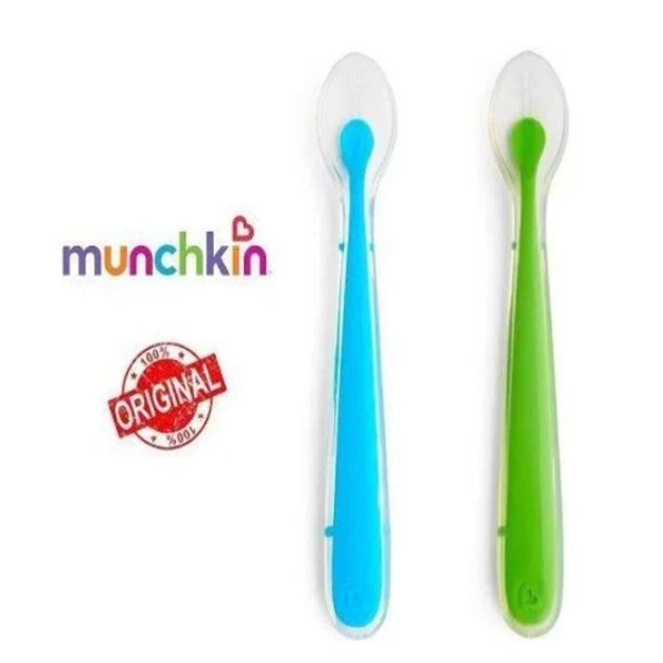 Colher de Silicone 2 Unidades Azul e Verde - Munchkin