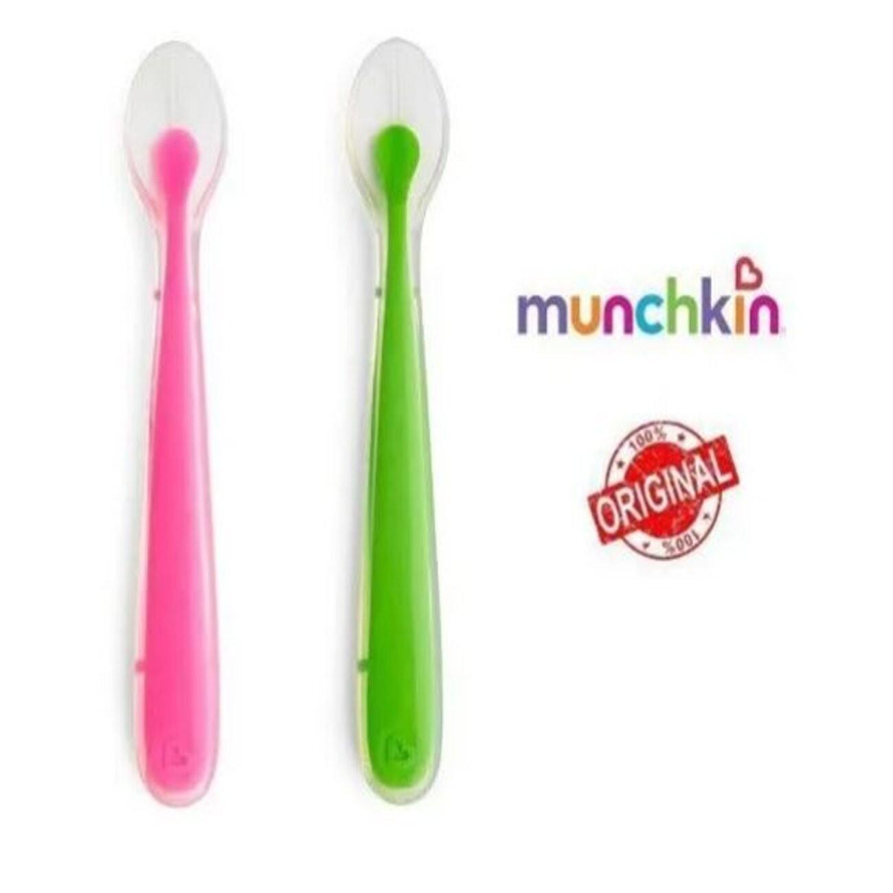 Colher de Silicone 2 unidades Rosa e Verde - Munchkin