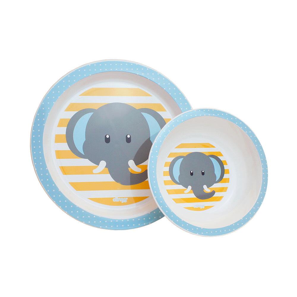 Conjunto de Prato e Tigela Infantil Clingo Elefante