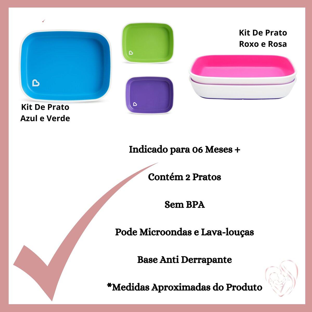 Conjunto de Pratos Roxo e Rosa (emb. c/ 2 unid.)
