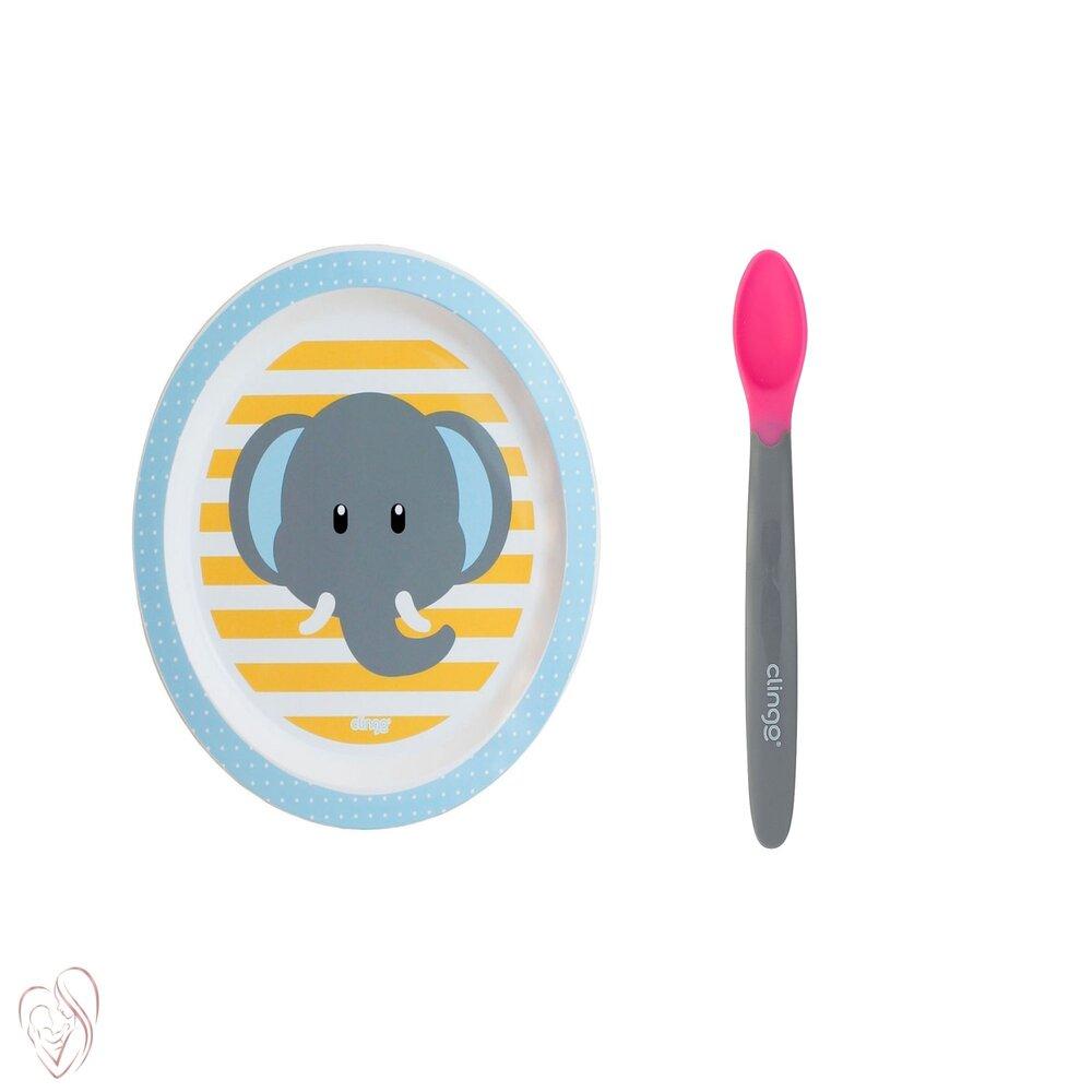 Conjunto Prato e Colher Termo Infantil Clingo Elefante Rosa