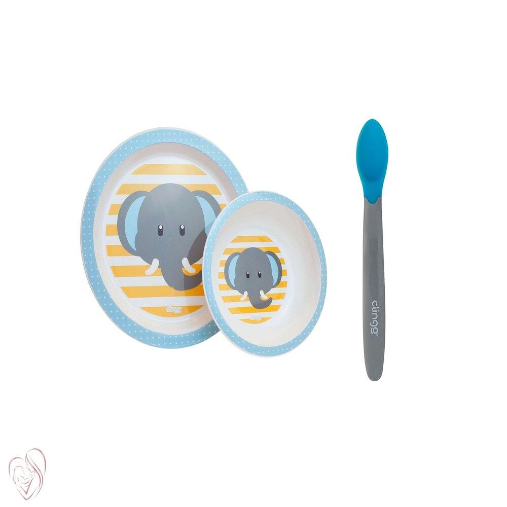 Conjunto Prato Tigela Colher Infantil Clingo Elefante Azul