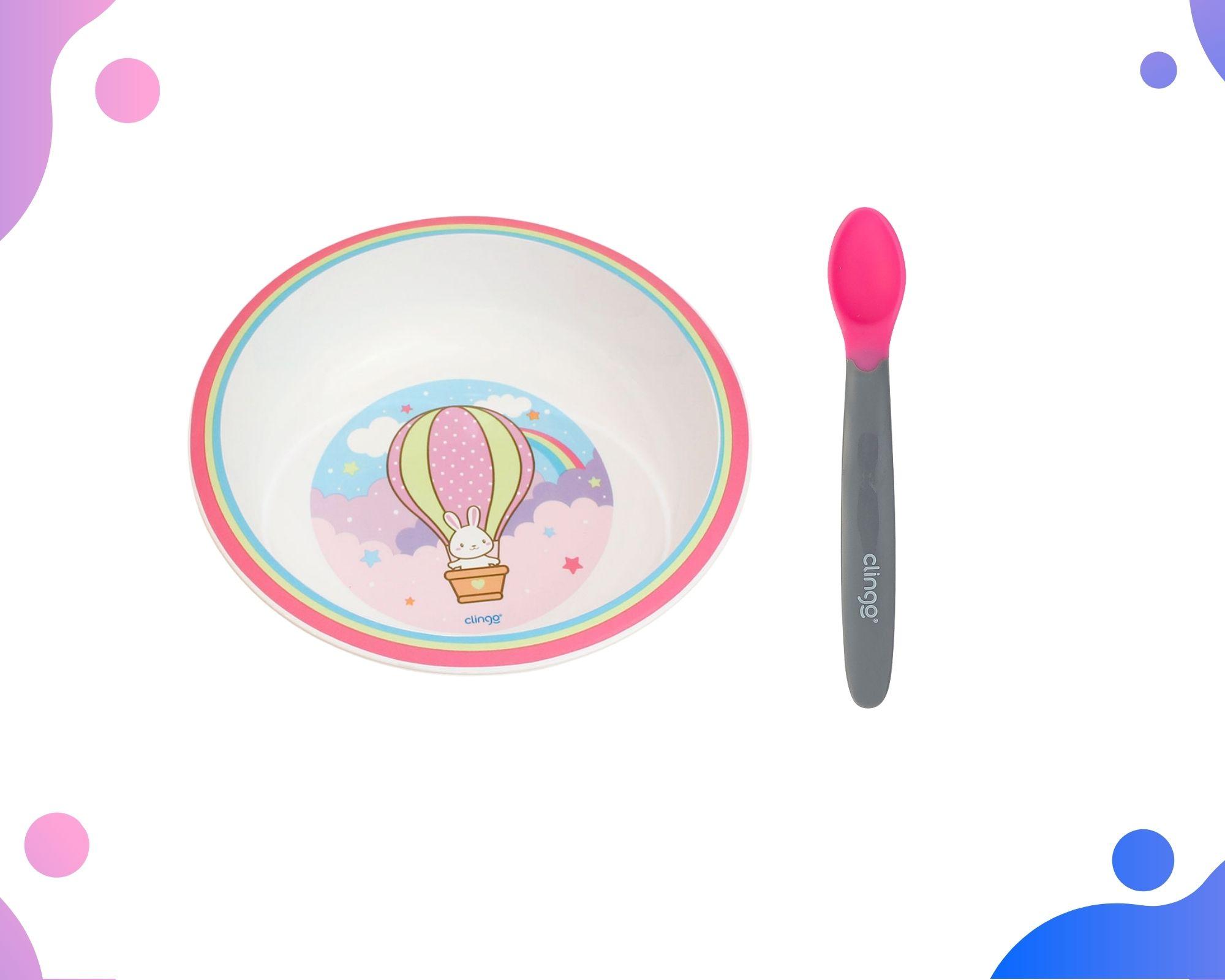 Conjunto Tigela Infantil Balão e Colher Termo Rosa Clingo