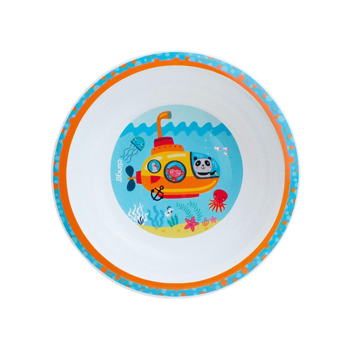 Conjunto Tigela Infantil Fundo do Mar e Colher Termo Azul Clingo