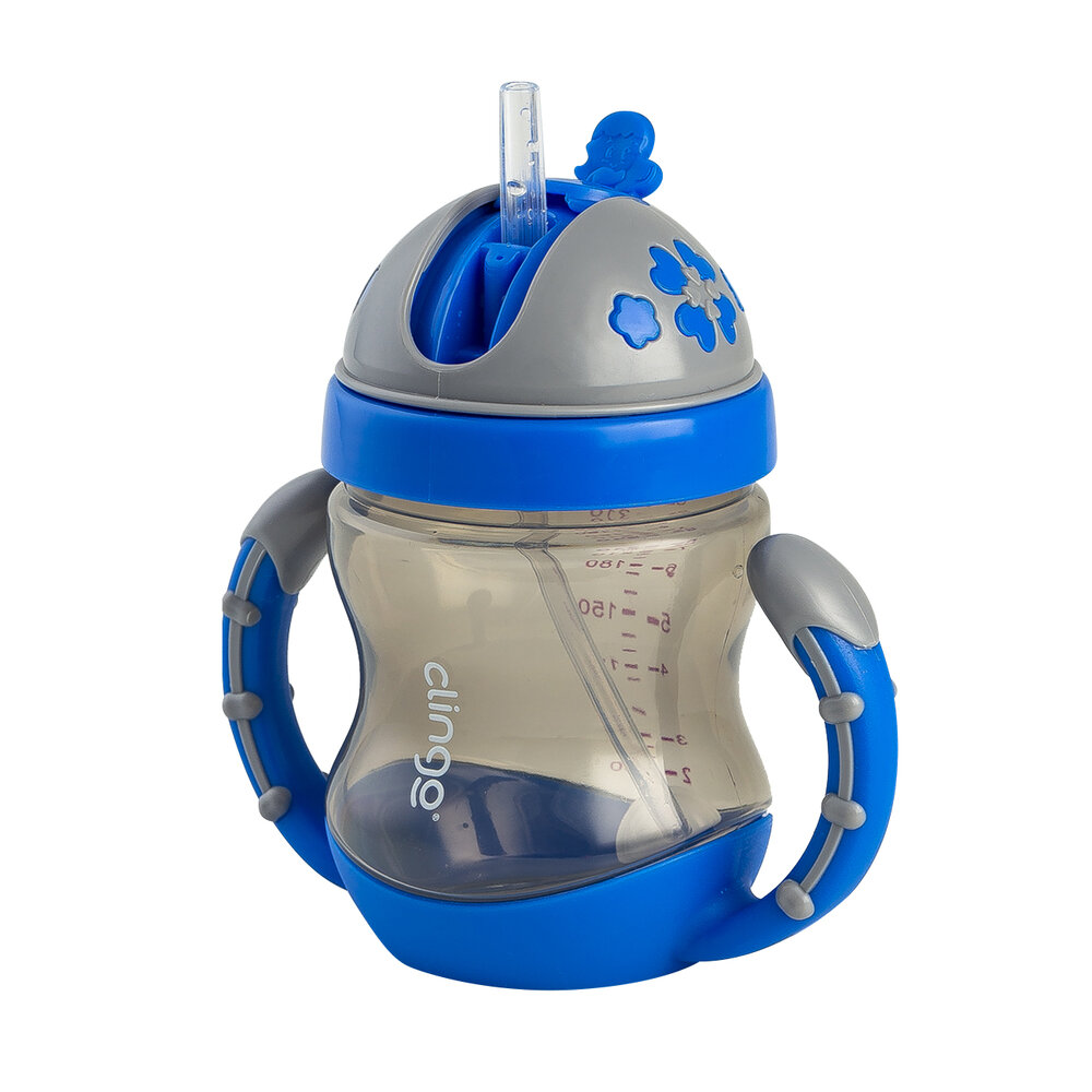 Copo Com Alça Valvula e Canudo Azul Clingo 240ml