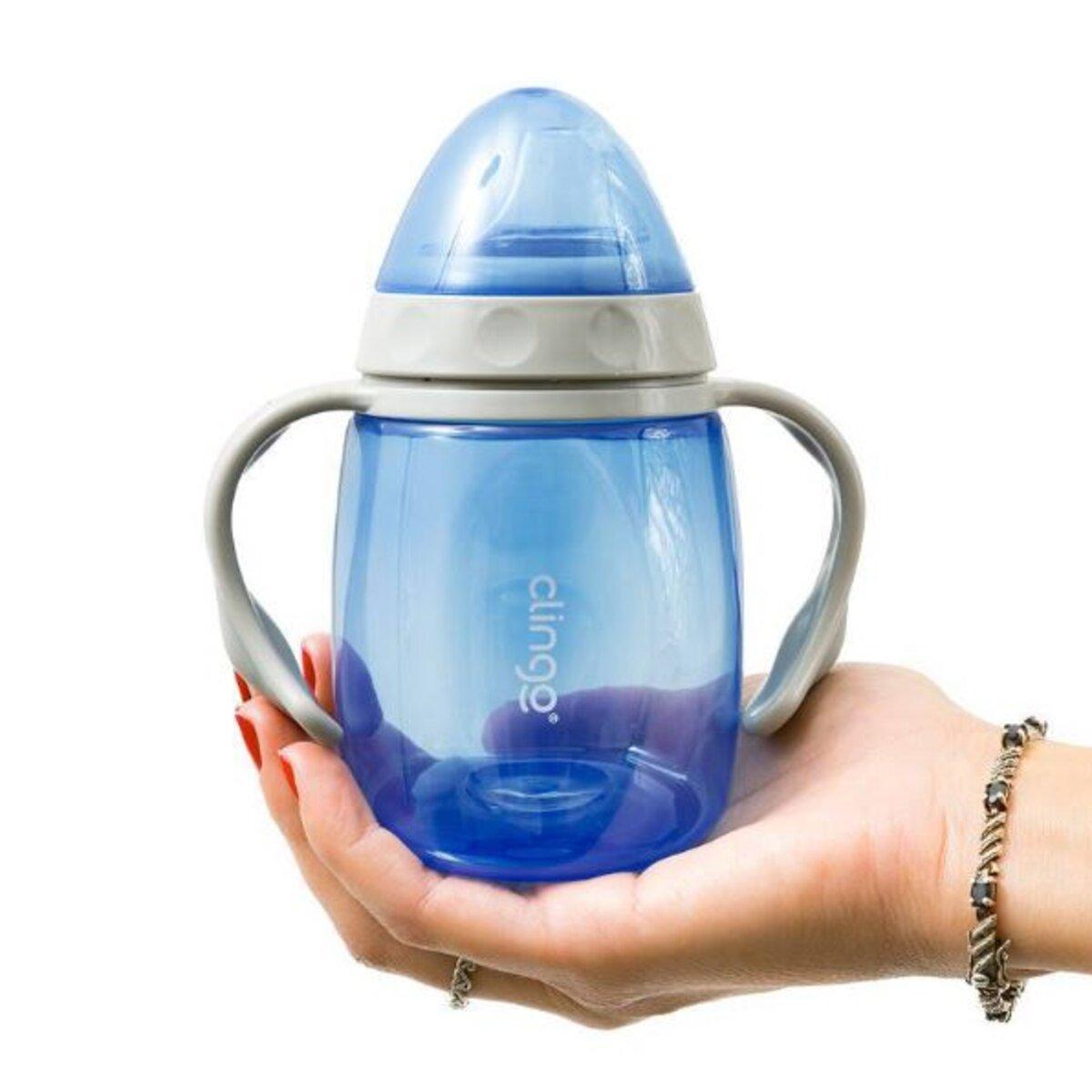 Copo Foguete com Alças e Bico em Silicone 220ml Azul Clingo