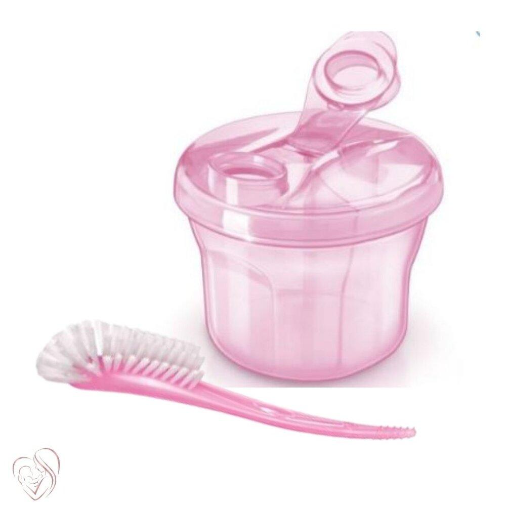 Dosador Leite em Pó e Escova Mamadeiras e Bicos Rosa Avent