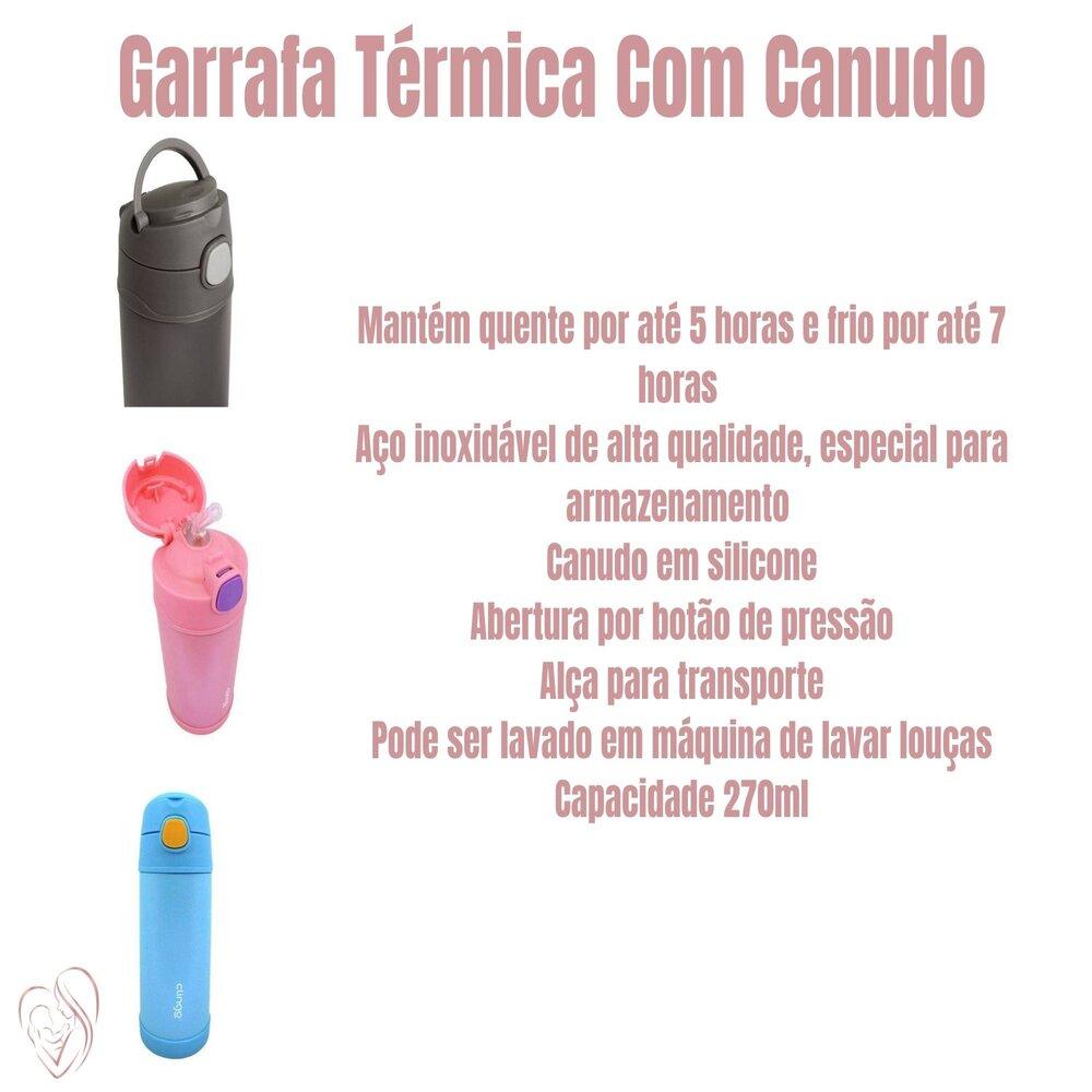 Garrafa Termica Com Canudo Rosa Clingo 270ml
