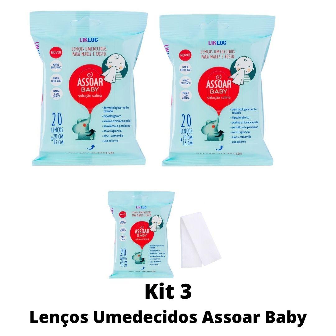 Kit 3 Lenços Umedecidos Assoar Baby c/ Solução Salina Likluc