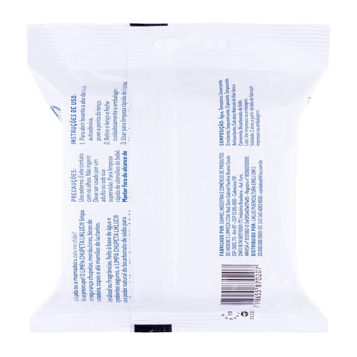 Kit 3 Lenços Umedecidos Limpa Chupeta e Mamadeira LikLuc