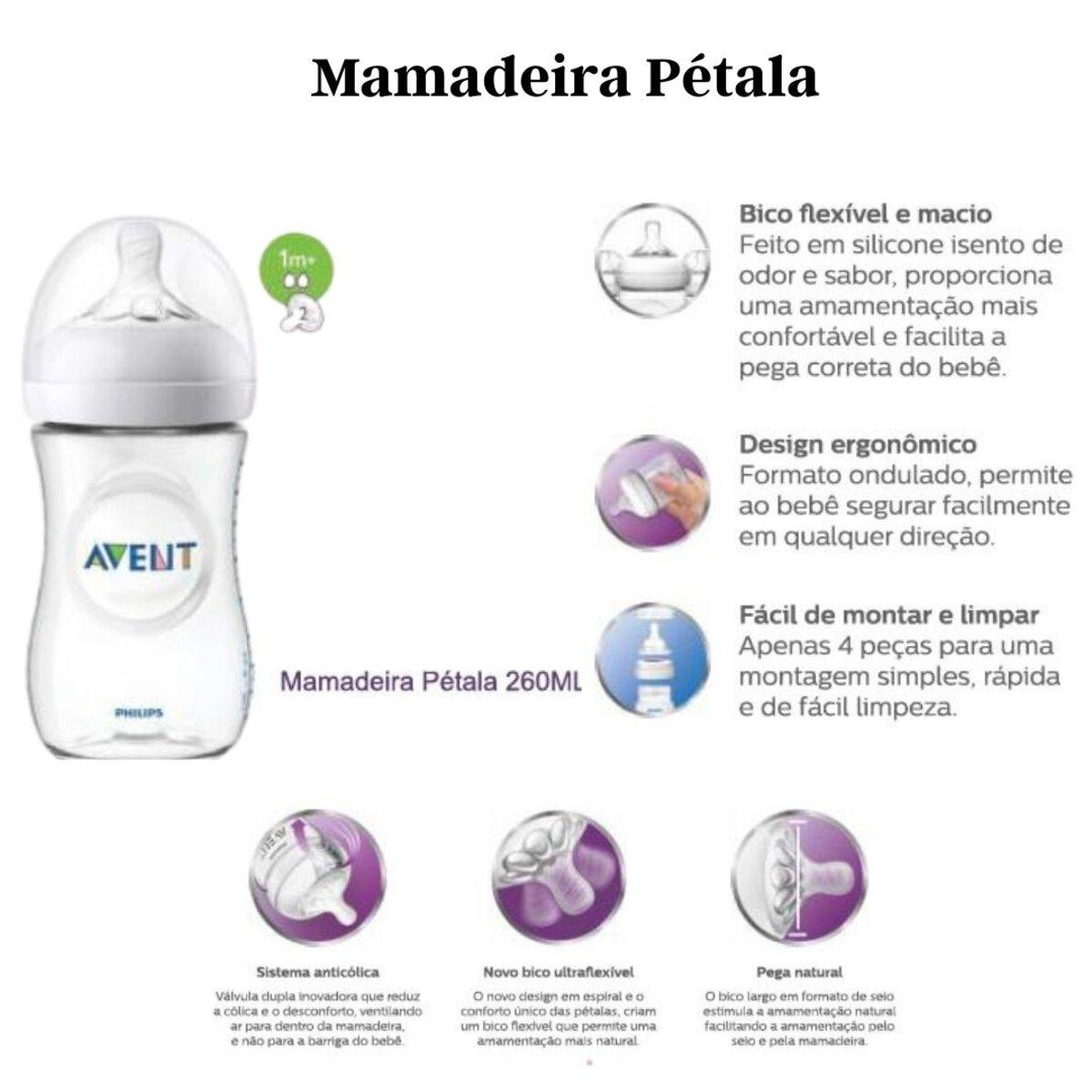 Kit 3 Mamadeiras Pétala 125ML 260ML E 330ML - Philips Avent