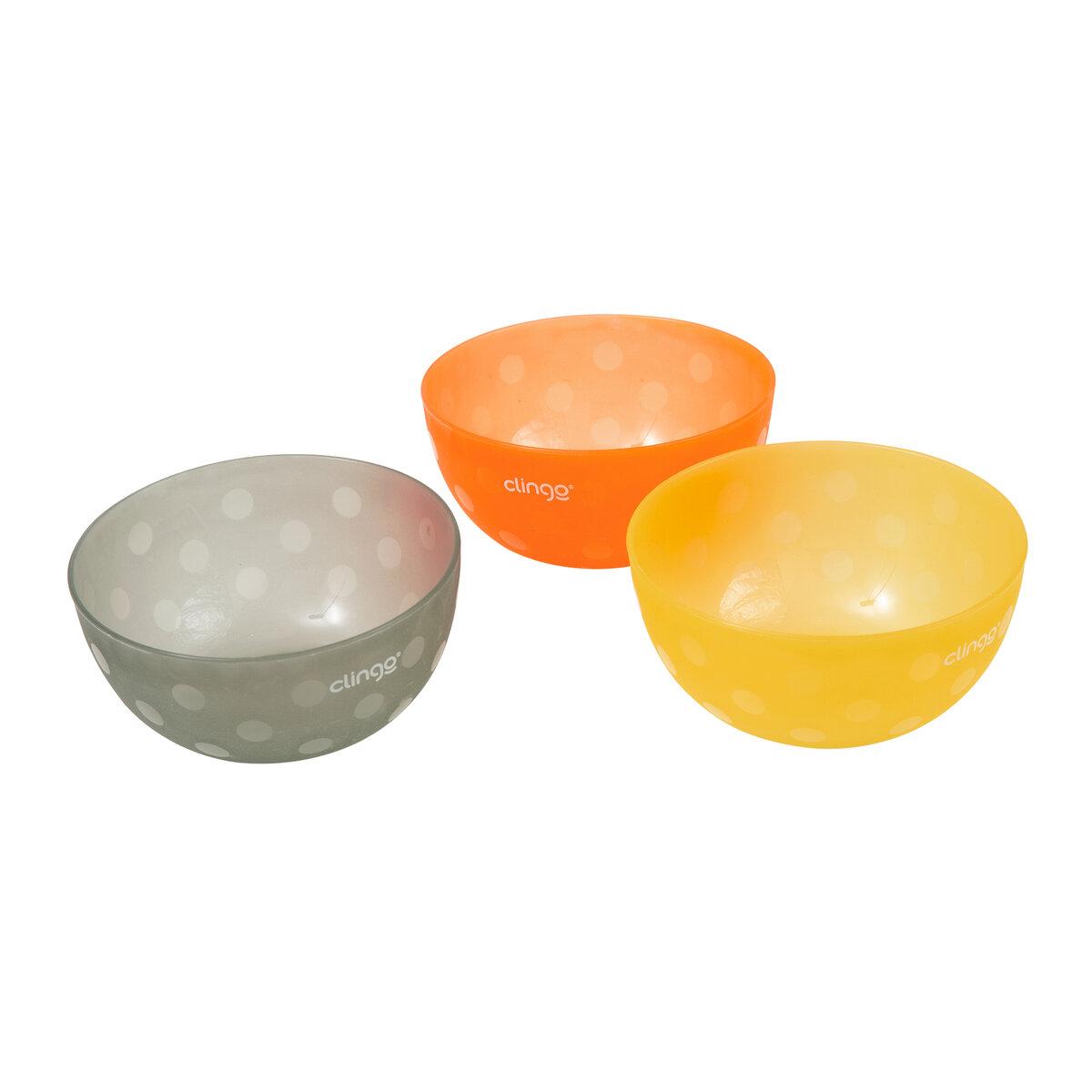 Kit 3 Tigelas Infantil Bebê Bowls Colors 300 ml Clingo