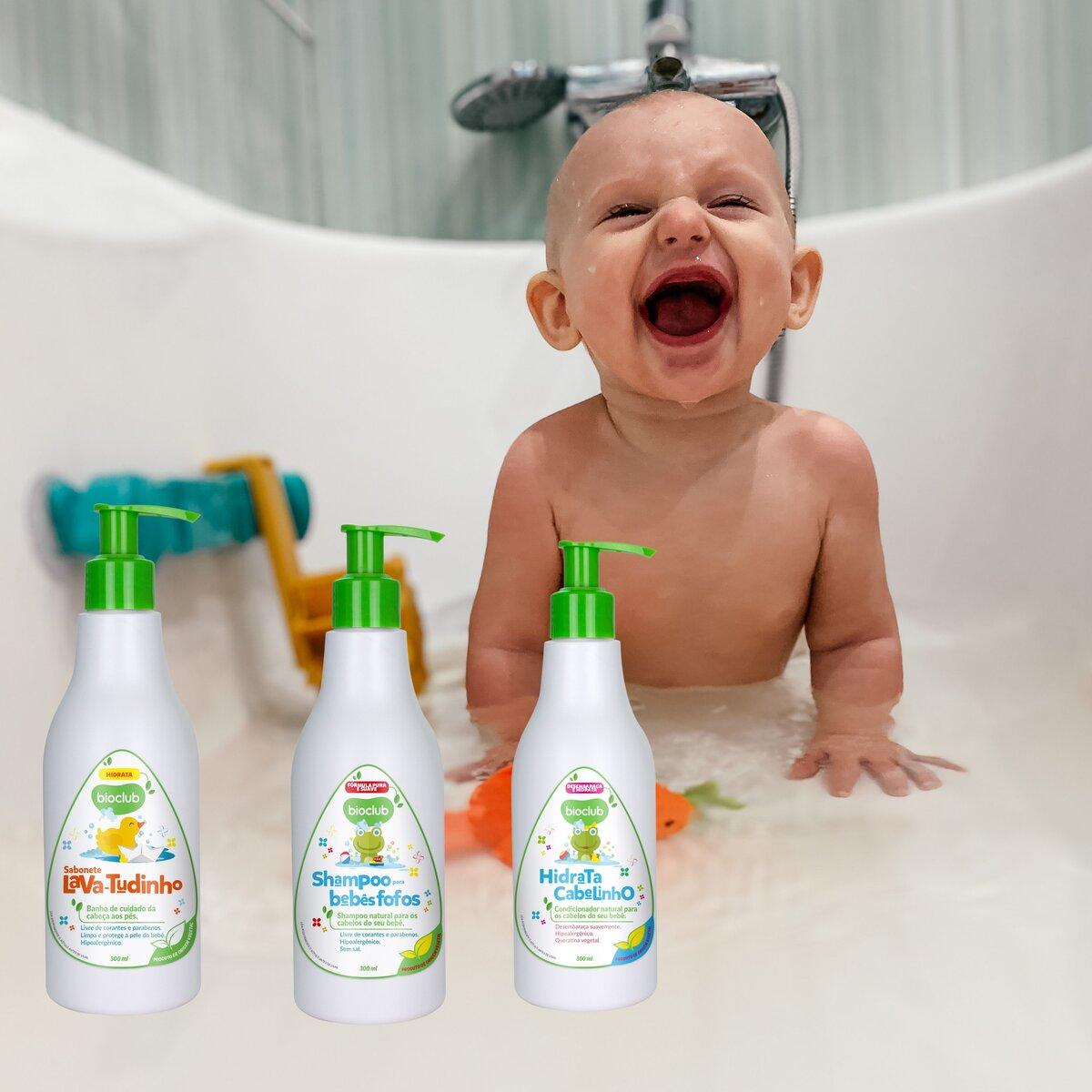 Kit Bebe Sabonete, Shampoo e Condicionador Infantil BioClub
