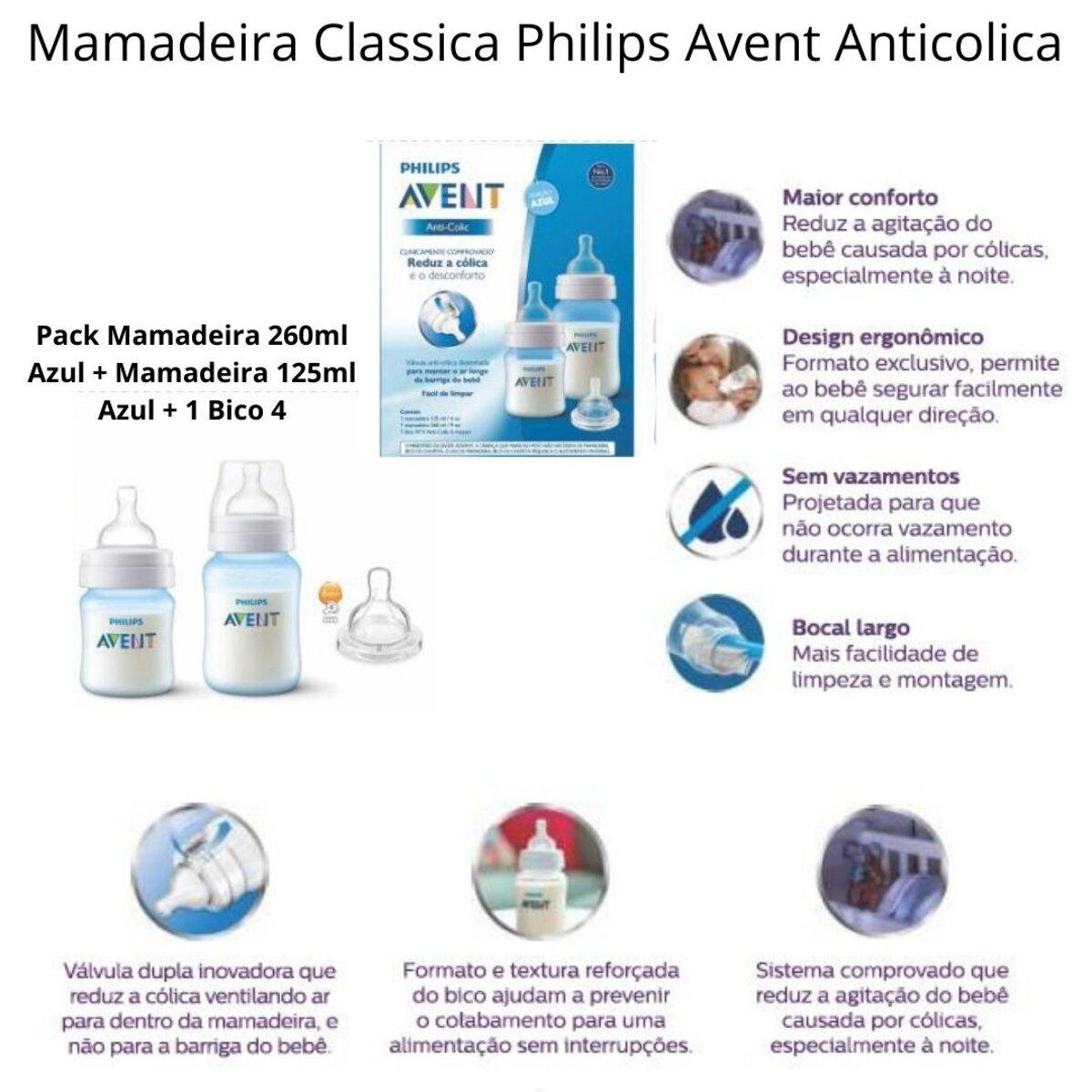 Kit Mamadeiras Avent Clássica Anticolica 125/260 Azul +Bico