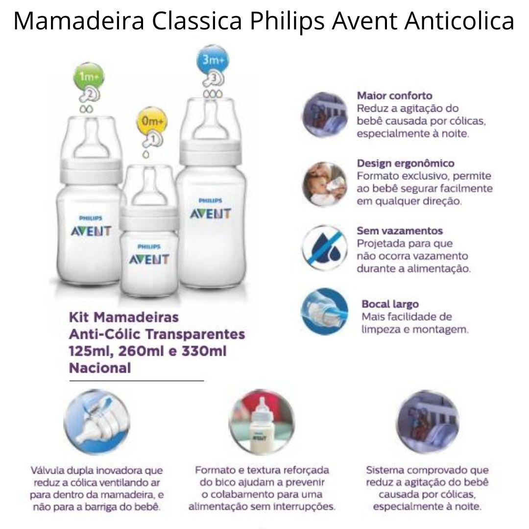 KIT MAMADEIRAS CLASSICA ANTI-COLIC 125ML 260ML E 330ML
