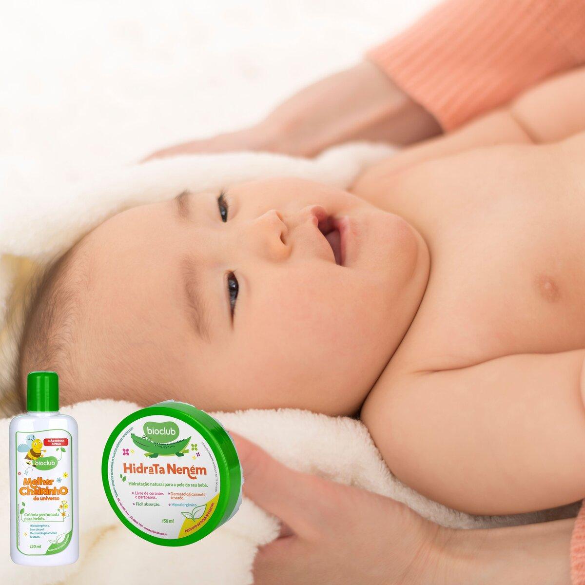 Kit Pós Banho Colonia e Hidratante Bebê Infantil BioClub