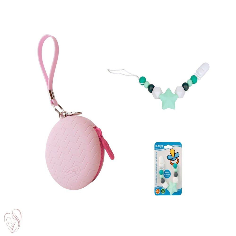 Kit Prendedor e Porta Chupeta Rosa com Ziper Silicone Clingo