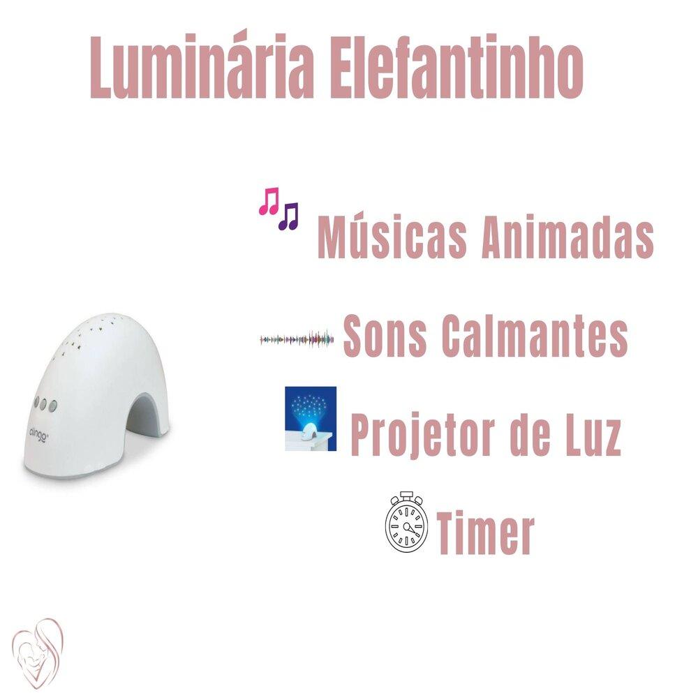 Luminária Abajur Infantil Com Sons E Luz Elefantinho Clingo
